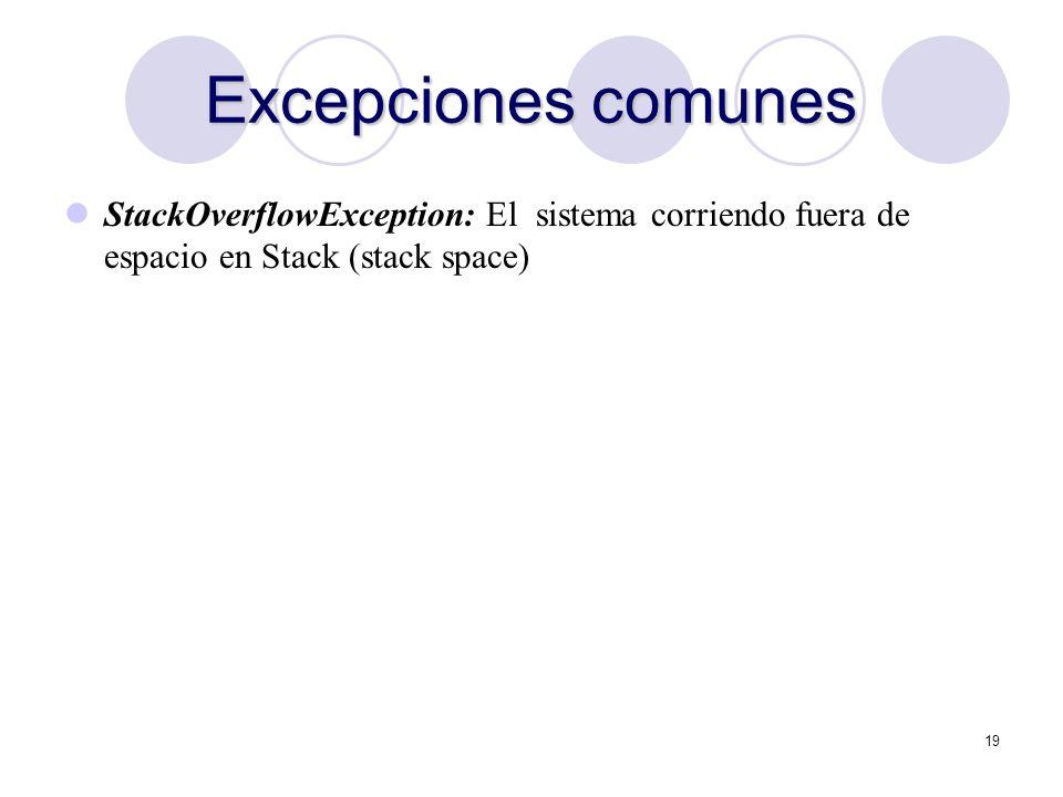 Excepciones comunes StackOverflowException: El sistema corriendo fuera de espacio en Stack (stack space)