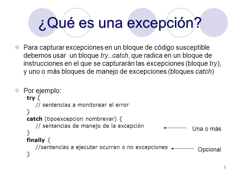 ¿Qué es una excepción