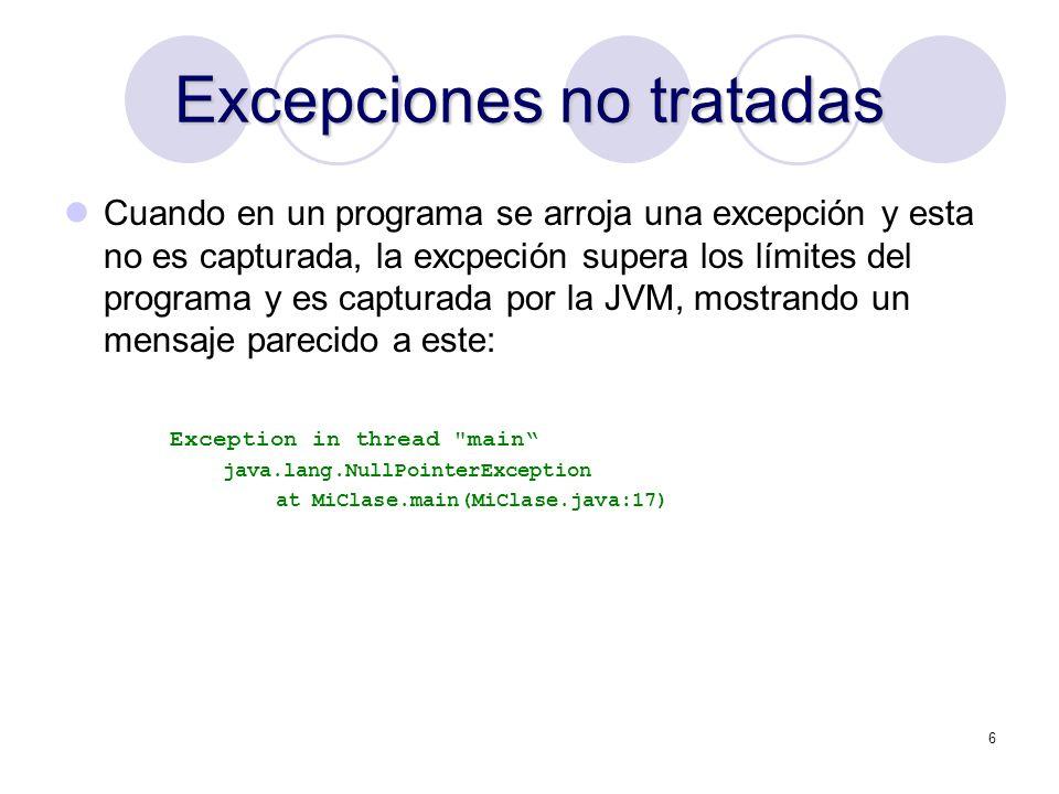Excepciones no tratadas