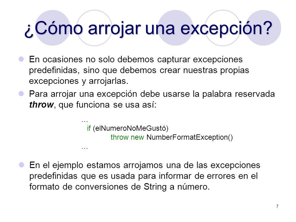 ¿Cómo arrojar una excepción