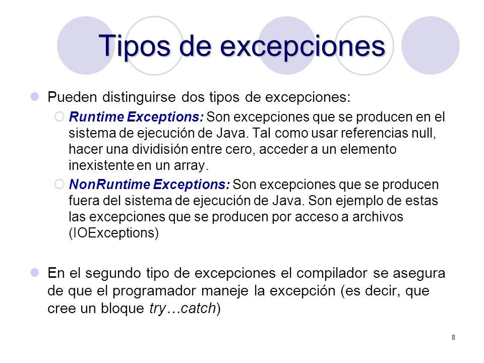 Tipos de excepciones Pueden distinguirse dos tipos de excepciones: