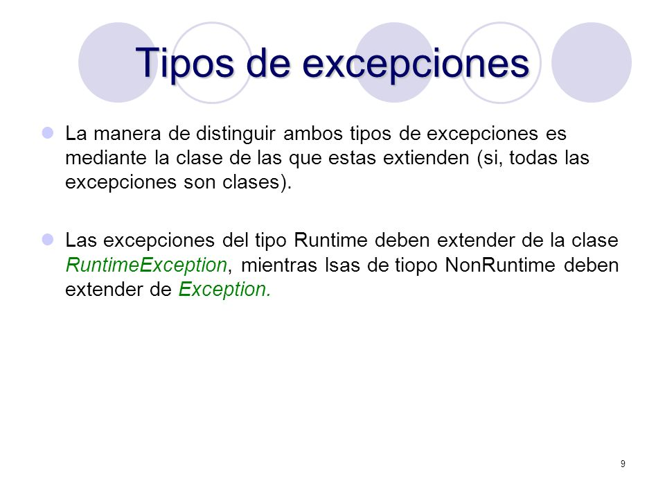 Tipos de excepciones
