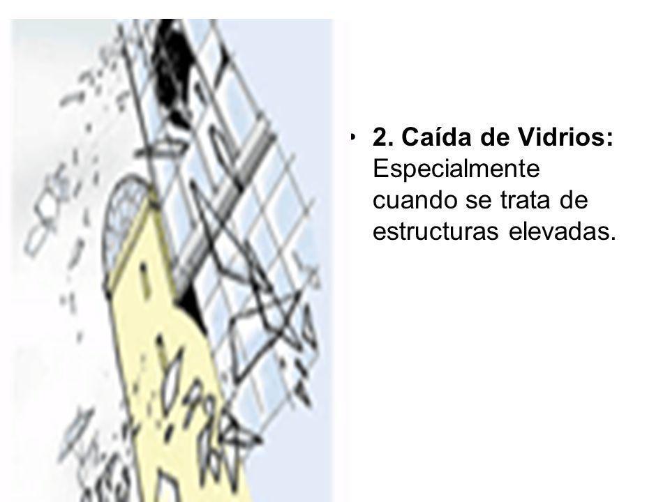 2. Caída de Vidrios: Especialmente cuando se trata de estructuras elevadas.