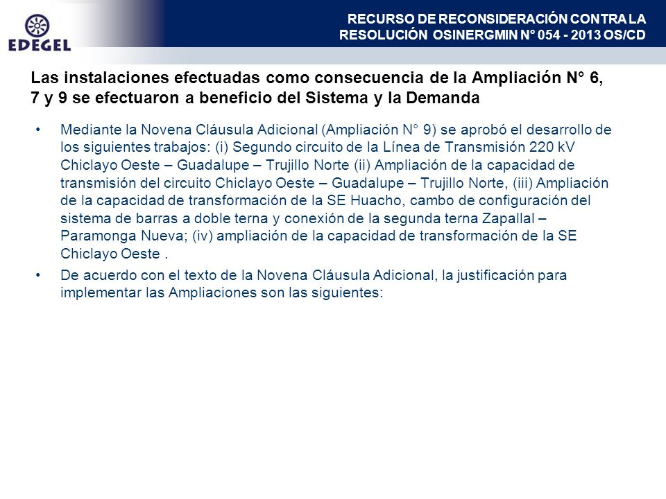 RECURSO DE RECONSIDERACIÓN CONTRA LA RESOLUCIÓN OSINERGMIN N° 054 - 2013 OS/CD