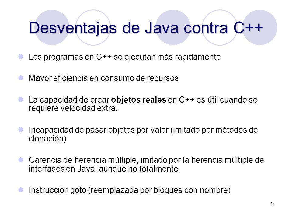 Desventajas de Java contra C++
