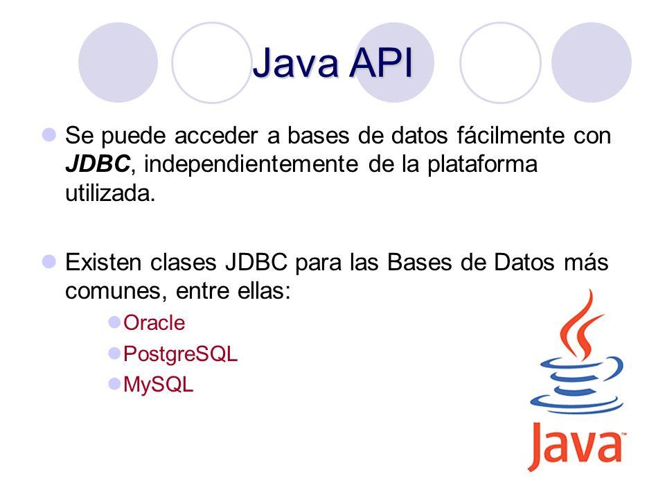 Java API Se puede acceder a bases de datos fácilmente con JDBC, independientemente de la plataforma utilizada.