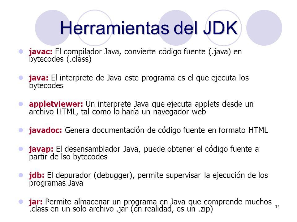 Herramientas del JDK javac: El compilador Java, convierte código fuente (.java) en bytecodes (.class)