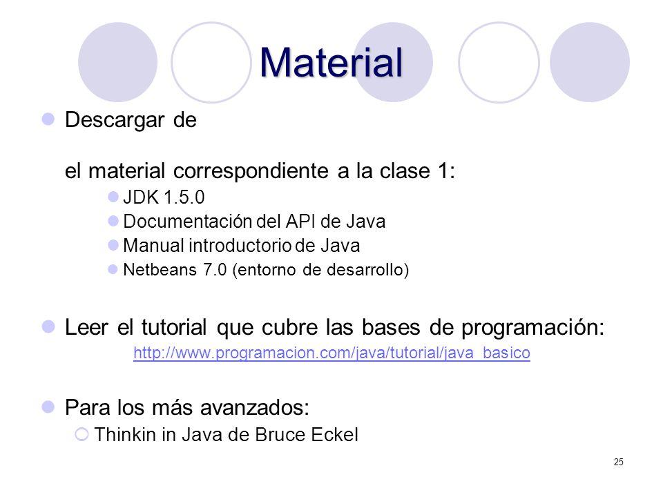 Material Leer el tutorial que cubre las bases de programación: