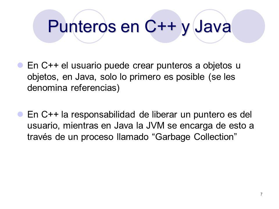 Punteros en C++ y Java En C++ el usuario puede crear punteros a objetos u objetos, en Java, solo lo primero es posible (se les denomina referencias)