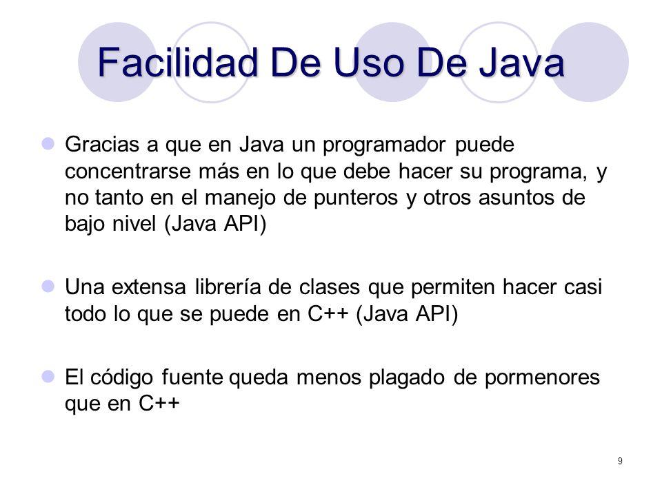 Facilidad De Uso De Java