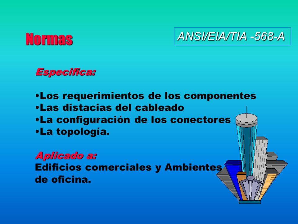 Normas ANSI/EIA/TIA -568-A Especifica: