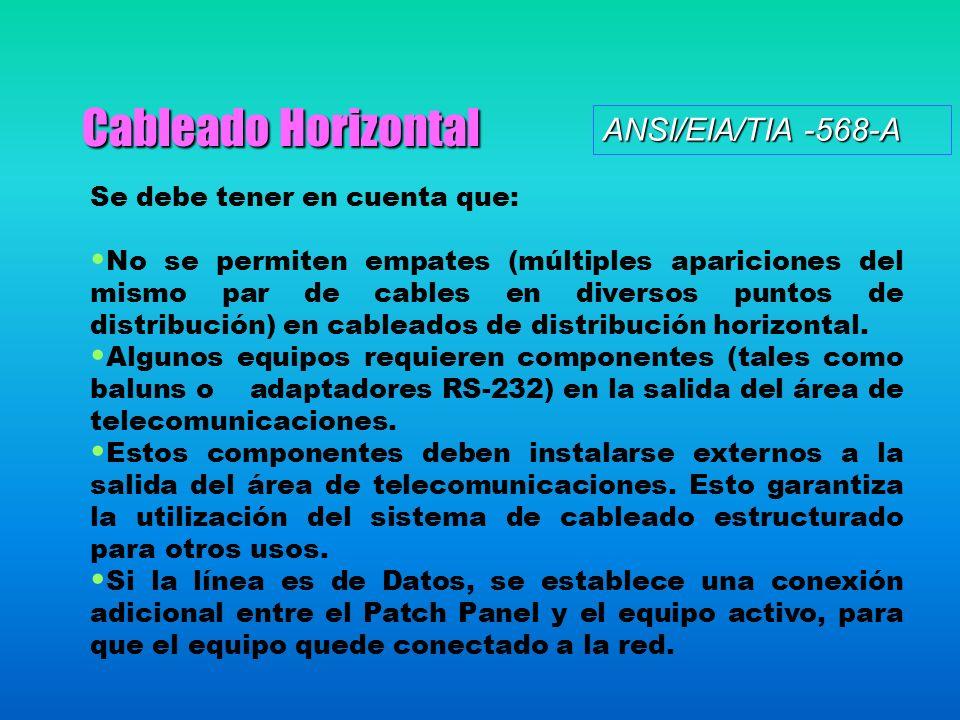 Cableado Horizontal ANSI/EIA/TIA -568-A Se debe tener en cuenta que: