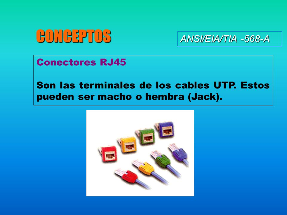 CONCEPTOS ANSI/EIA/TIA -568-A Conectores RJ45