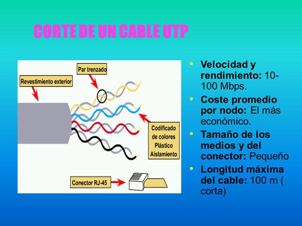 CORTE DE UN CABLE UTP Velocidad y rendimiento: 10-100 Mbps.