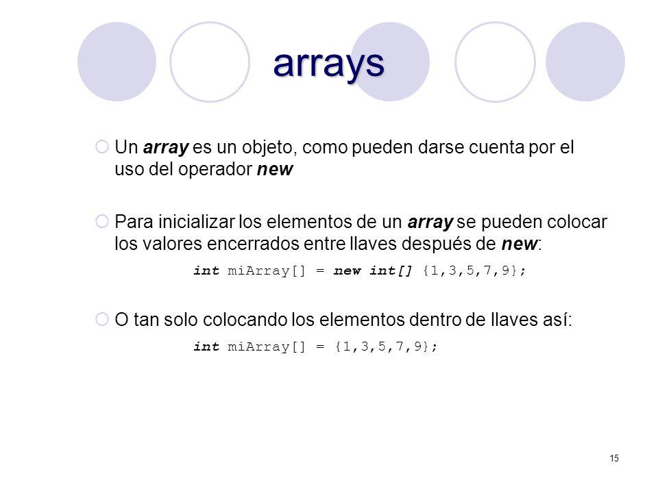 arrays Un array es un objeto, como pueden darse cuenta por el uso del operador new.