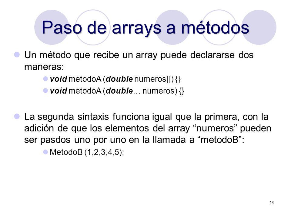 Paso de arrays a métodos