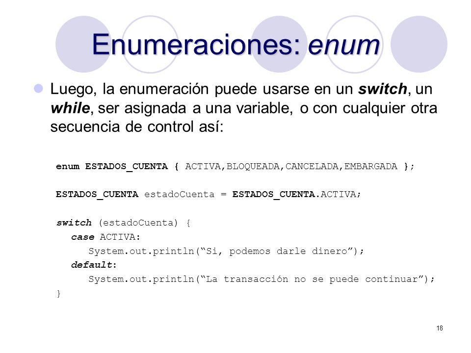 Enumeraciones: enum