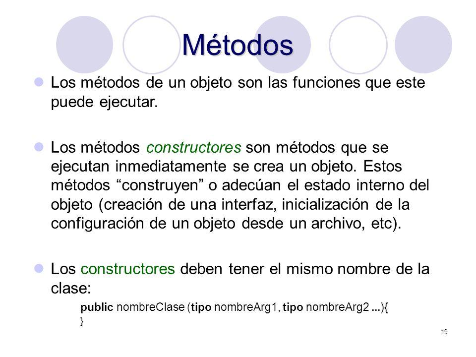 Métodos Los métodos de un objeto son las funciones que este puede ejecutar.