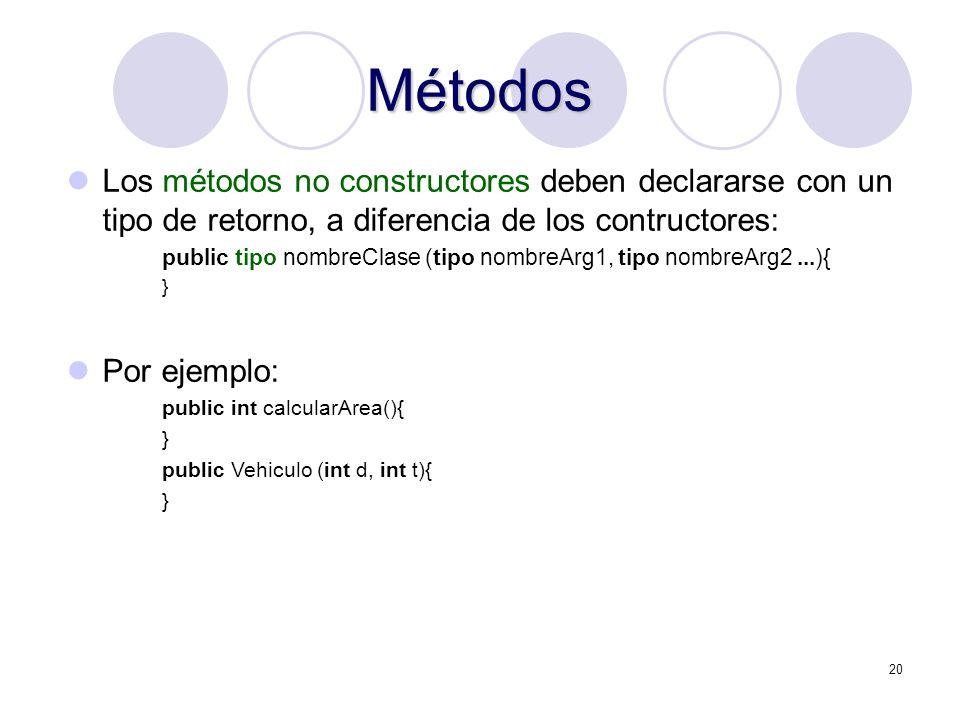 Métodos Los métodos no constructores deben declararse con un tipo de retorno, a diferencia de los contructores:
