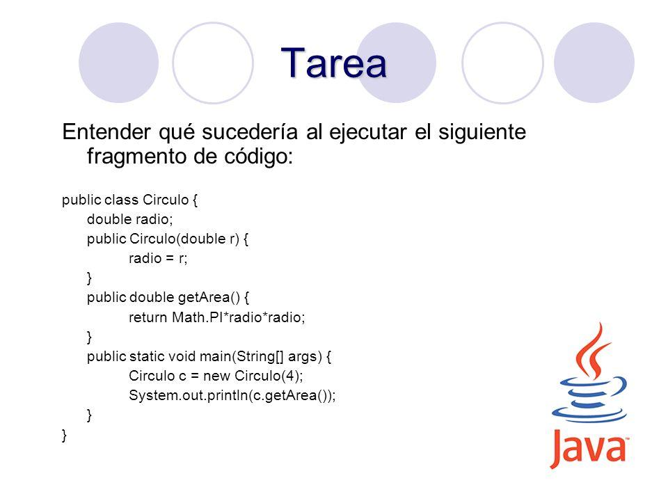 Tarea Entender qué sucedería al ejecutar el siguiente fragmento de código: public class Circulo { double radio;