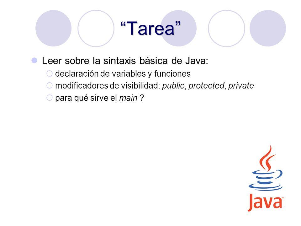 Tarea Leer sobre la sintaxis básica de Java: