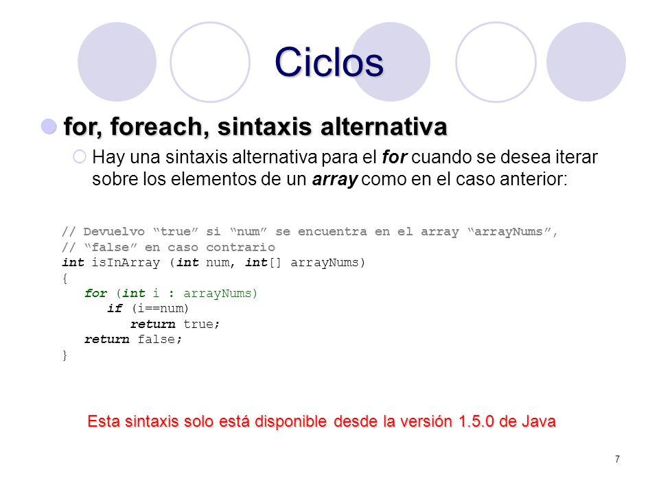 Ciclos for, foreach, sintaxis alternativa