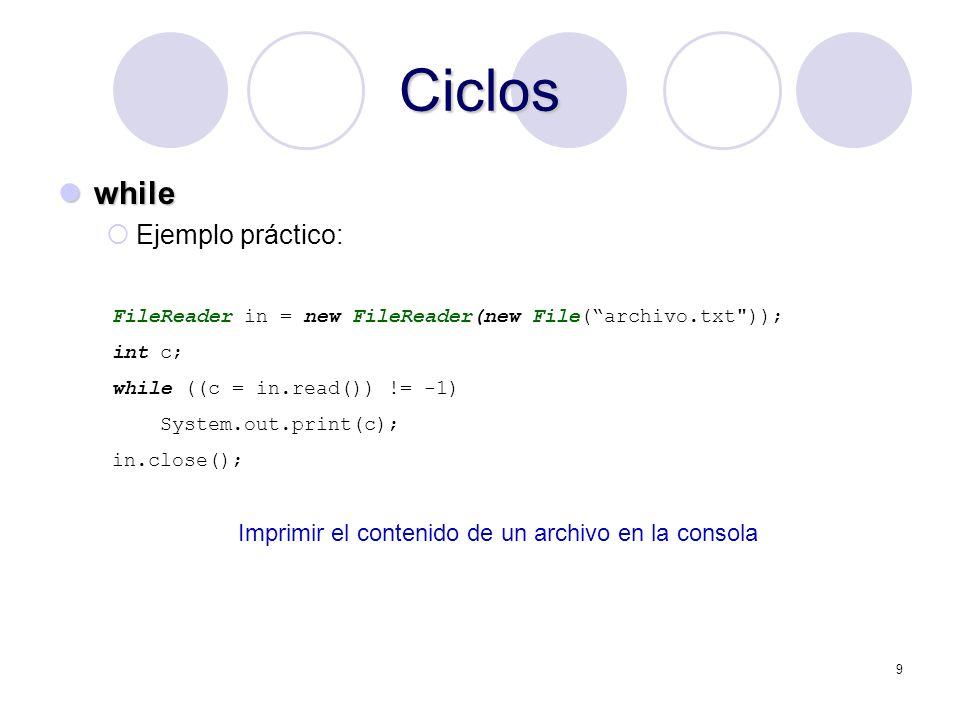 Ciclos while Ejemplo práctico: