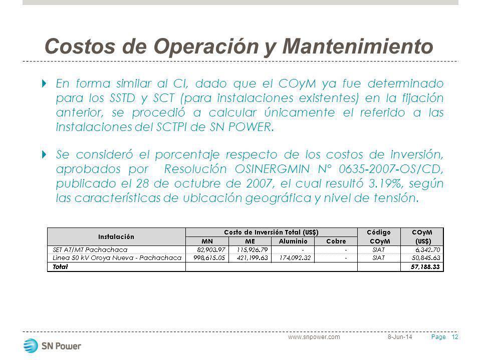 Costos de Operación y Mantenimiento