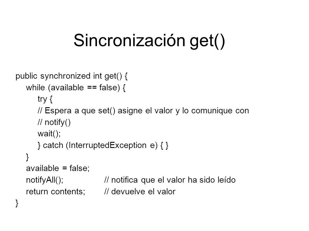 Sincronización get() public synchronized int get() {