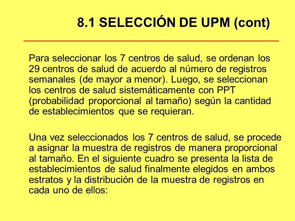 8.1 SELECCIÓN DE UPM (cont)