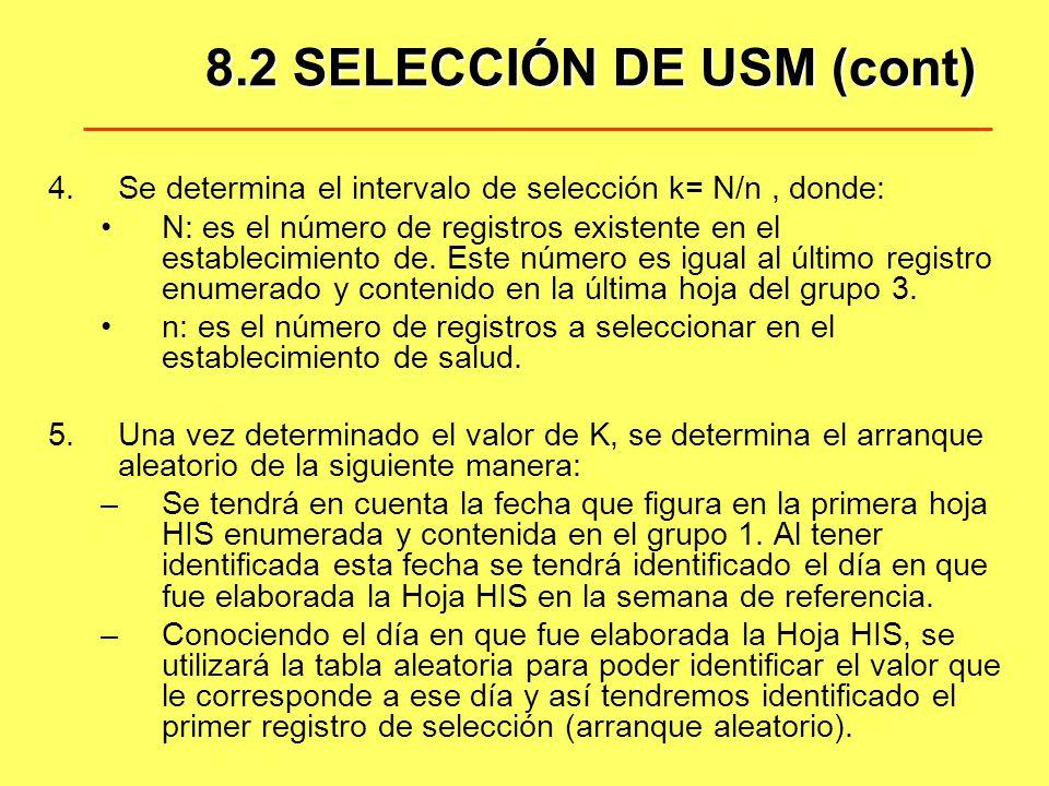 8.2 SELECCIÓN DE USM (cont)