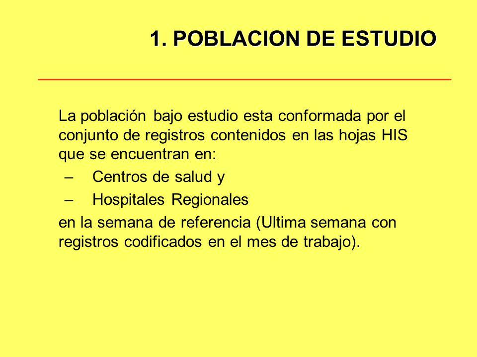 1. POBLACION DE ESTUDIO La población bajo estudio esta conformada por el conjunto de registros contenidos en las hojas HIS que se encuentran en: