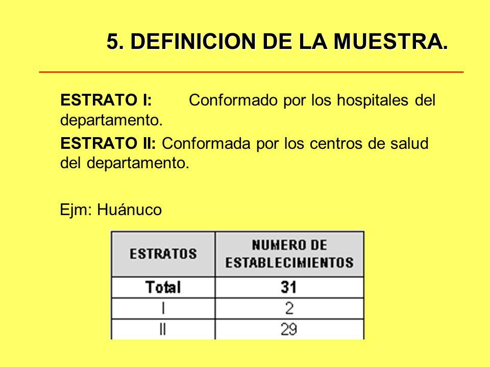 5. DEFINICION DE LA MUESTRA.