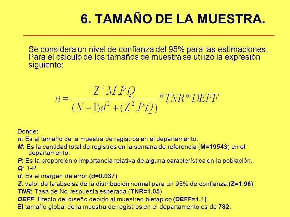6. TAMAÑO DE LA MUESTRA.
