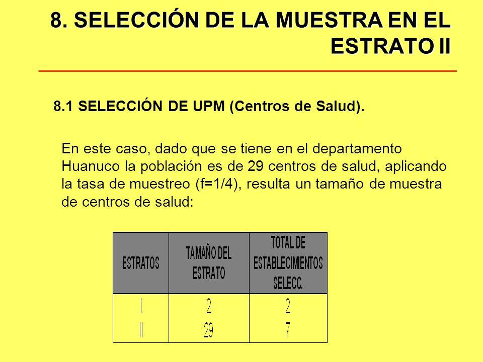 8. SELECCIÓN DE LA MUESTRA EN EL ESTRATO II