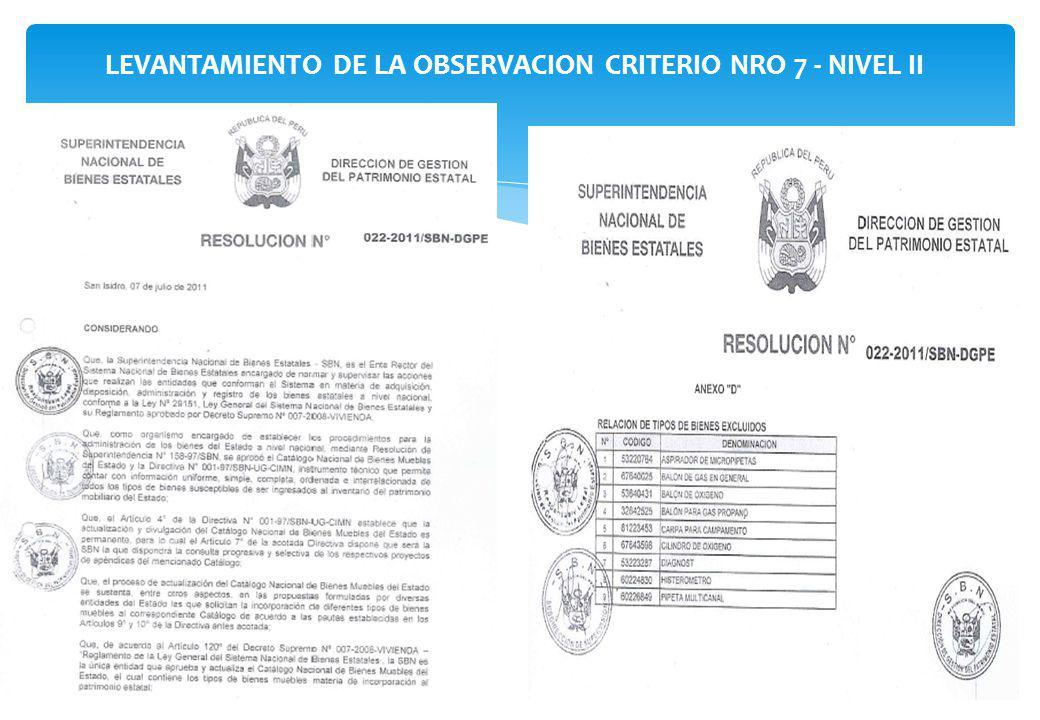LEVANTAMIENTO DE LA OBSERVACION CRITERIO NRO 7 - NIVEL II
