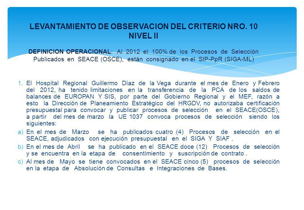 LEVANTAMIENTO DE OBSERVACION DEL CRITERIO NRO