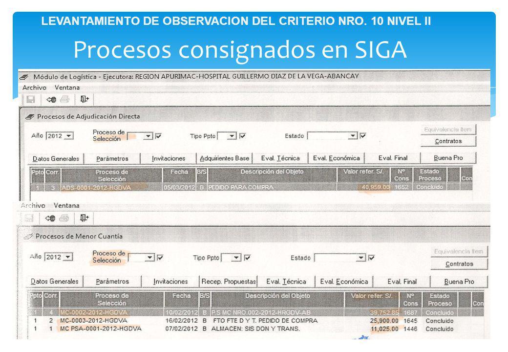 Procesos consignados en SIGA