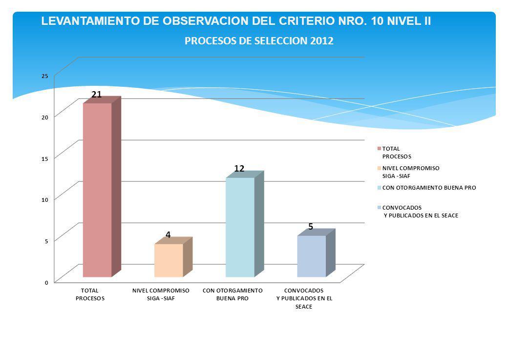 LEVANTAMIENTO DE OBSERVACION DEL CRITERIO NRO. 10 NIVEL II