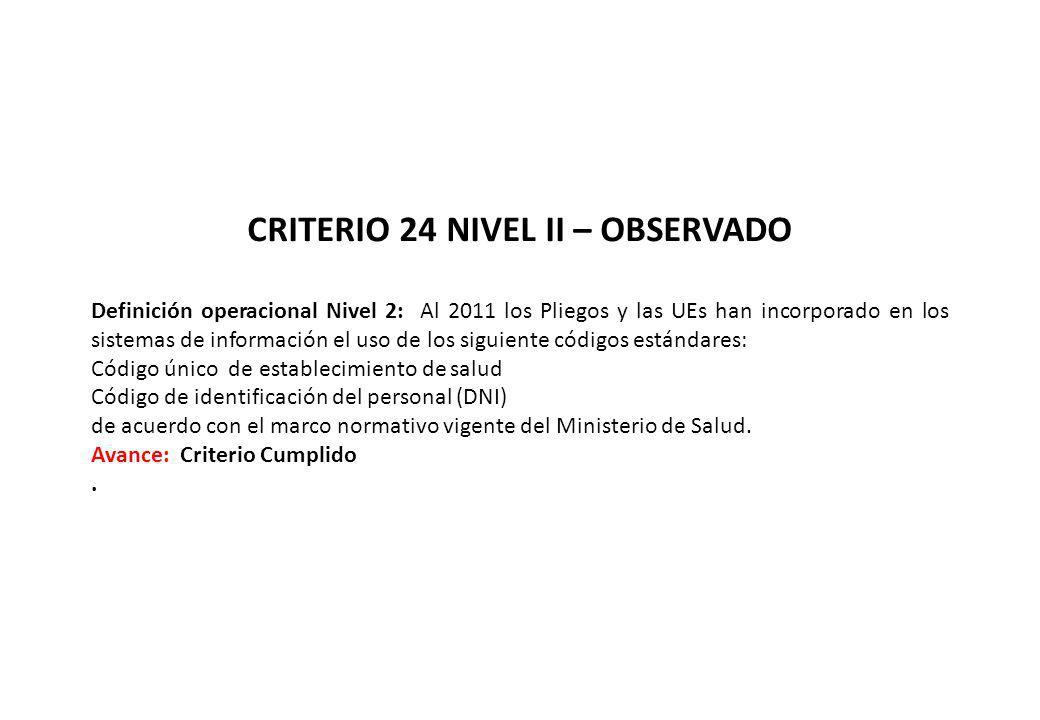 CRITERIO 24 NIVEL II – OBSERVADO