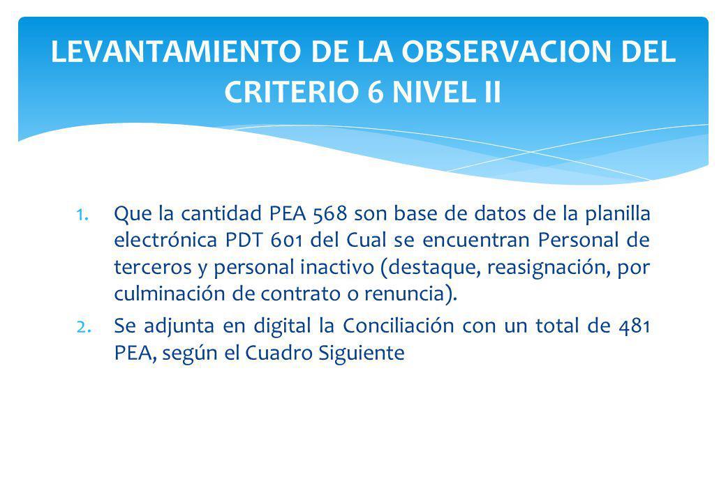 LEVANTAMIENTO DE LA OBSERVACION DEL CRITERIO 6 NIVEL II