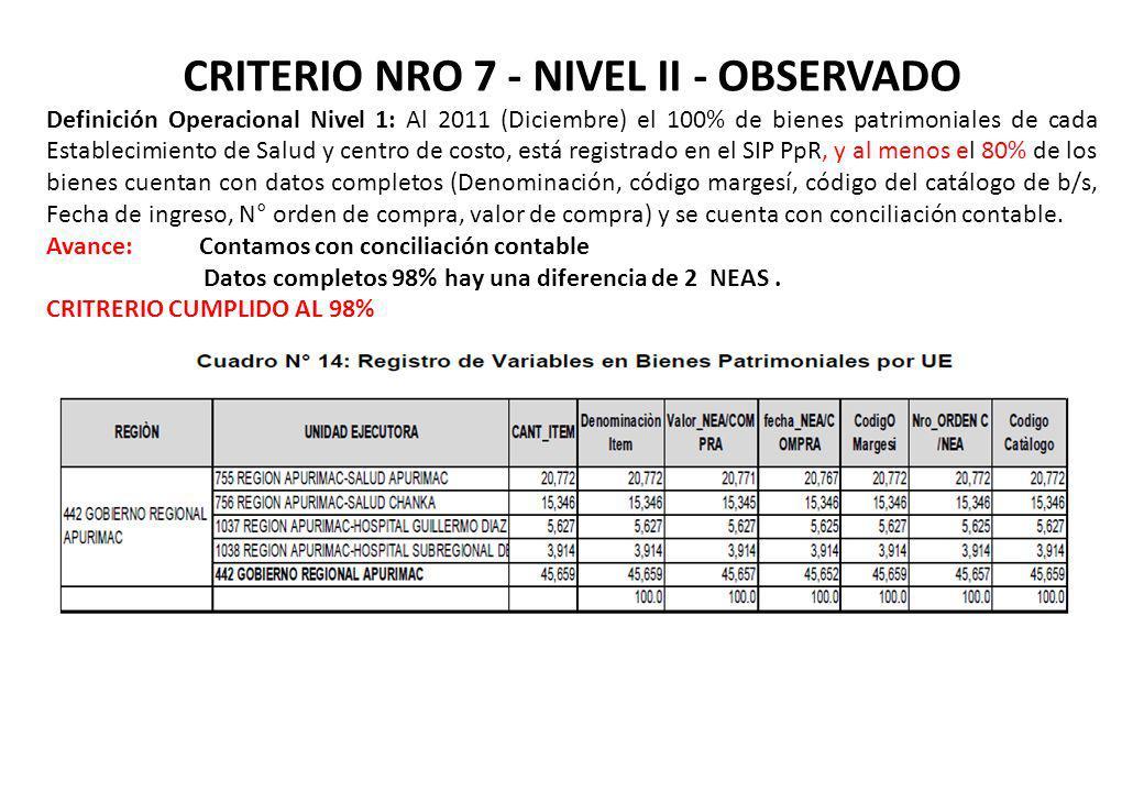 CRITERIO NRO 7 - NIVEL II - OBSERVADO
