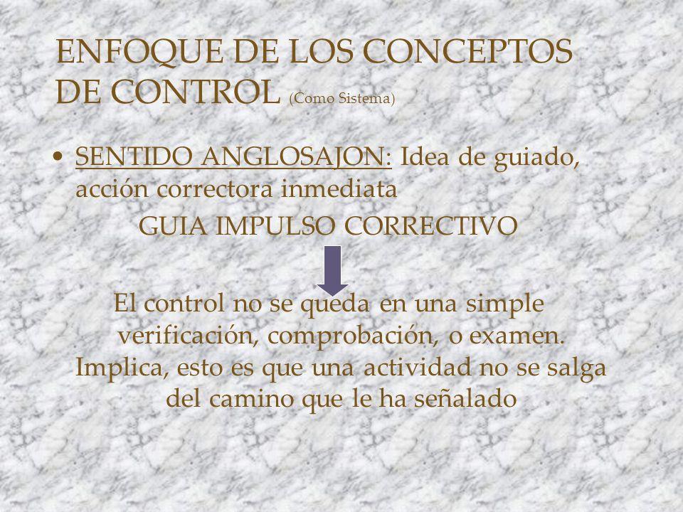 ENFOQUE DE LOS CONCEPTOS DE CONTROL (Como Sistema)