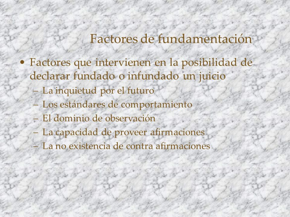 Factores de fundamentación
