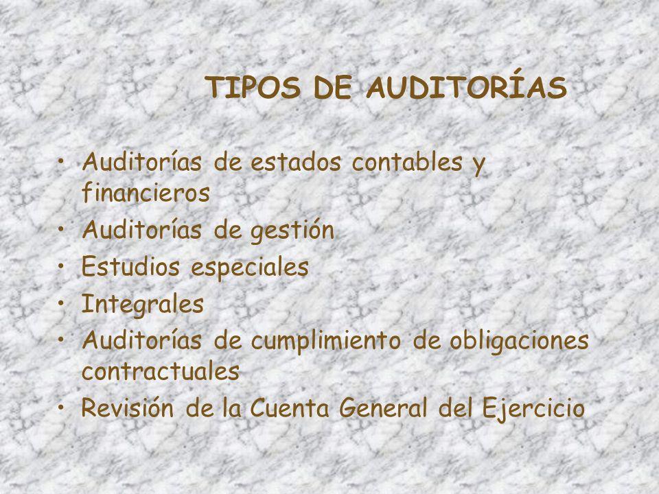 TIPOS DE AUDITORÍAS Auditorías de estados contables y financieros