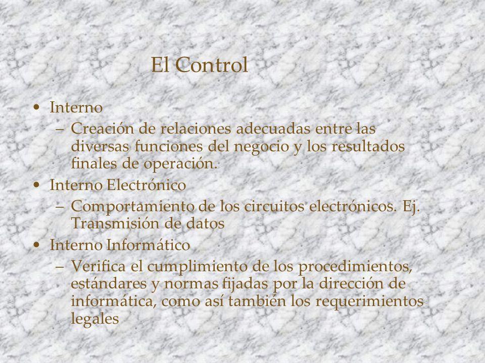 El Control Interno. Creación de relaciones adecuadas entre las diversas funciones del negocio y los resultados finales de operación.