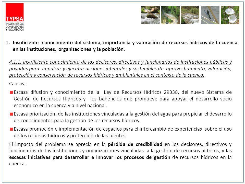 Insuficiente conocimiento del sistema, importancia y valoración de recursos hídricos de la cuenca en las instituciones, organizaciones y la población.