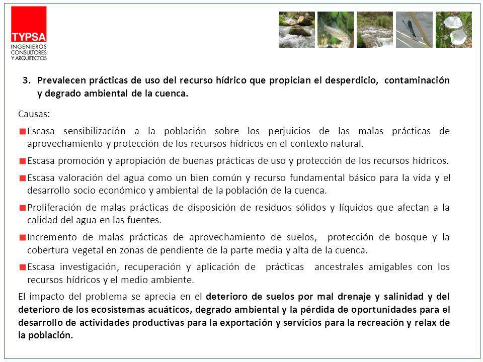 Prevalecen prácticas de uso del recurso hídrico que propician el desperdicio, contaminación y degrado ambiental de la cuenca.