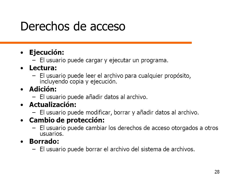 Derechos de acceso Ejecución: Lectura: Adición: Actualización: