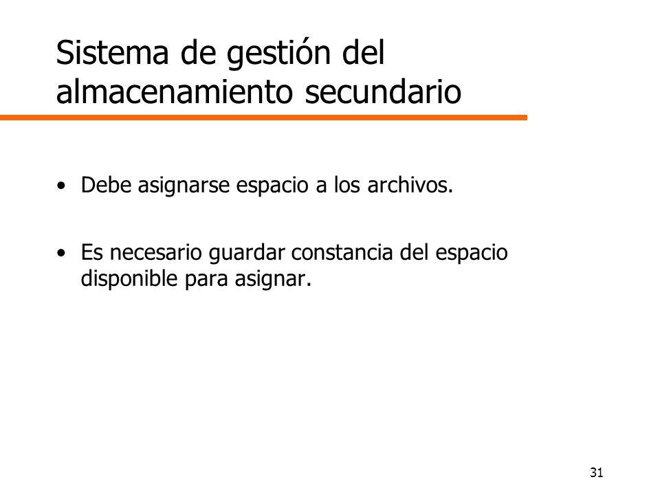 Sistema de gestión del almacenamiento secundario